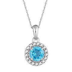 10k White Gold Swiss Blue Topaz & 1/10 Carat T.W. Diamond Halo Pendant Necklace