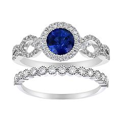 14k White Gold Sapphire & 5/8 Carat T.W. Diamond Halo Engagement Ring Set