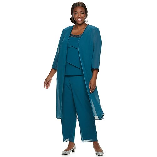 b0f2ac0ef6a2 Plus Size Le Bos Tiered Top, Duster & Pant Set