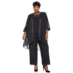 Plus Size Le Bos Satin Trim Duster Jacket, Top & Pants Set