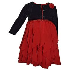 Girls 4-6x Blueberi Boulevard Sequin Ruffle Dress & Velvet Shrug Set