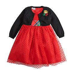 Girls 4-6x Blueberi Boulevard Flocked Dot Plaid Dress & Rosette Shrug Set