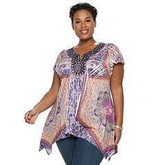 Plus Size World Unity Medallion Sharkbite Top