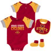 Baby Iowa State Cyclones 50 Yard Dash Bodysuit, Bib & Booties Set