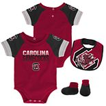 Baby South Carolina Gamecocks 50 Yard Dash Bodysuit, Bib & Booties Set