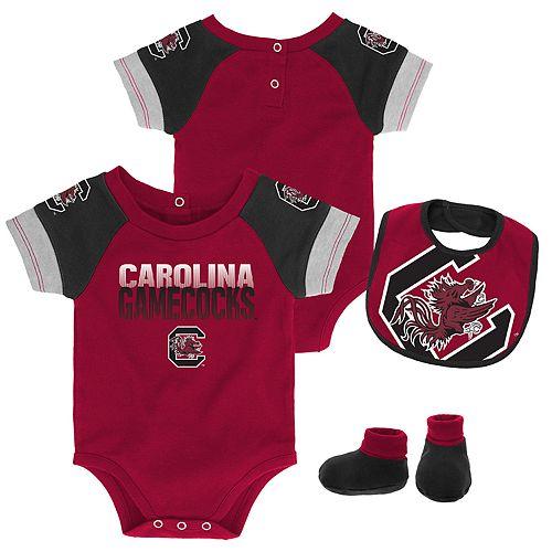 Baby South Carolina Gamecocks 50 Yard Dash Bodysuit, Bib & Booties Set