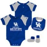 Baby Kentucky Wildcats 50 Yard Dash Bodysuit, Bib & Booties Set