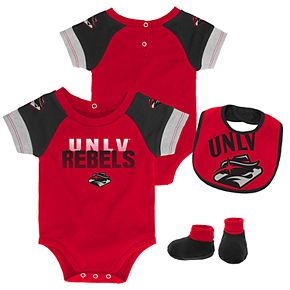 Baby UNLV Rebels 50 Yard Dash Bodysuit, Bib & Booties Set