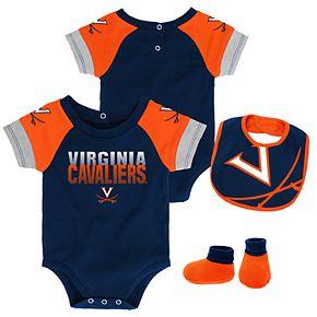 Baby Virginia Cavaliers 50 Yard Dash Bodysuit, Bib & Booties Set
