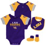 Baby LSU Tigers 50 Yard Dash Bodysuit, Bib & Booties Set