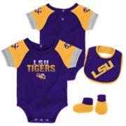 Baby LSU Tigers 50 Yard Dash Bodysuit, Bib & Booties Set