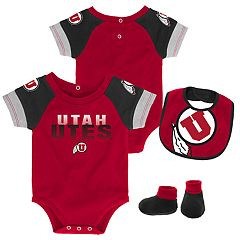 Baby Utah Utes 50 Yard Dash Bodysuit, Bib & Booties Set