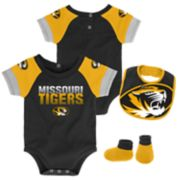 Baby Missouri Tigers 50 Yard Dash Bodysuit, Bib & Booties Set