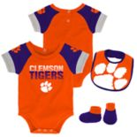 Baby Clemson Tigers 50 Yard Dash Bodysuit, Bib & Booties Set