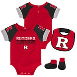 Baby Rutgers Scarlet Knights 50 Yard Dash Bodysuit, Bib & Booties Set