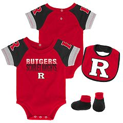 Baby Rutgers Scarlet Knights 50 Yard Dash Bodysuit, Bib & Booties Set