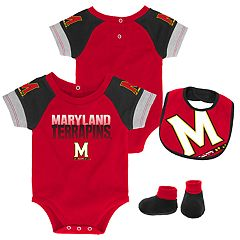 Baby Maryland Terrapins 50 Yard Dash Bodysuit, Bib & Booties Set