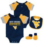 Baby West Virginia Mountaineers 50 Yard Dash Bodysuit, Bib & Booties Set