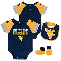 Baby West Virginia Mountaineers 50 Yard Dash Bodysuit, Bib & Booties Set