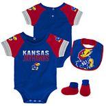 Baby Kansas Jayhawks 50 Yard Dash Bodysuit, Bib & Booties Set