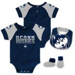 Baby UConn Huskies 50 Yard Dash Bodysuit, Bib & Booties Set
