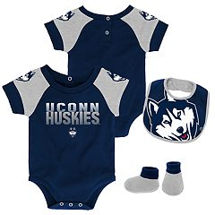 Baby UConn Huskies 50 Yard Dash Bodysuit, Bib & Booties Set