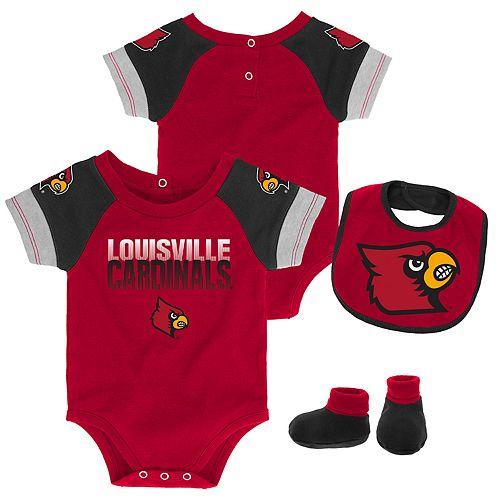 Baby Louisville Cardinals 50 Yard Dash Bodysuit, Bib & Booties Set