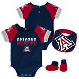 Baby Arizona Wildcats 50 Yard Dash Bodysuit, Bib & Booties Set