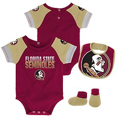 Baby Florida State Seminoles 50 Yard Dash Bodysuit, Bib & Booties Set
