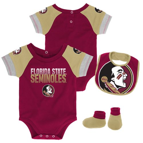 Baby Florida State Seminoles 50 Yard Dash Bodysuit Bib Booties Set