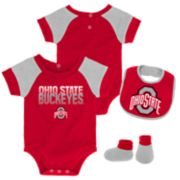 Baby Ohio State Buckeyes 50 Yard Dash Bodysuit, Bib & Booties Set