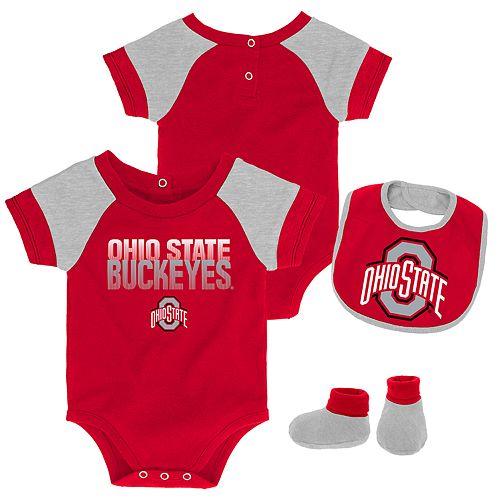 Baby Ohio State Buckeyes 50 Yard Dash Bodysuit, Bib & Booties Set