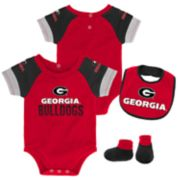 Baby Georgia Bulldogs 50 Yard Dash Bodysuit, Bib & Booties Set
