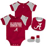 Baby Alabama Crimson Tide 50 Yard Dash Bodysuit, Bib & Booties Set