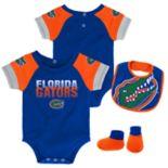 Baby Florida Gators 50 Yard Dash Bodysuit, Bib & Booties Set