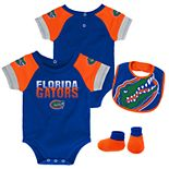 Baby Florida Gators 50 Yard Dash Bodysuit, Bib & Booties Set