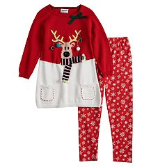 Girls 4-6x Blueberi Boulevard Reindeer Light-Up Sweater & Snowflake Leggings Set