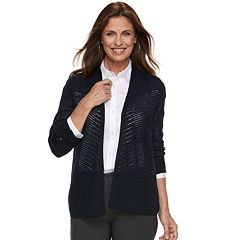 Women's Croft & Barrow® Chevron Stitch Open-Front Cardigan