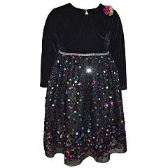 Girls 4-6x Blueberi Boulevard Sequin Dress & Velvet Shrug Set