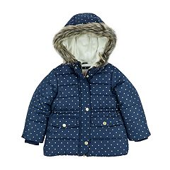 Baby Girl Carter's Heavyweight Navy Gold Dot Jacket