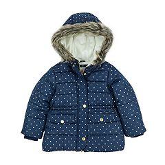 Baby Girl Carter's Heavyweight Navy Gold Dot Jacket