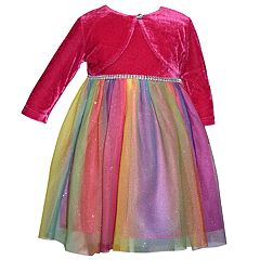 Girls 4-6x Blueberi Boulevard Rainbow Velvet Dress & Shrug Set