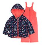 Baby Girl OshKosh B'gosh® Navy & Coral Heart Heavyweight Hooded Jacket & Bib Snow Pants Set