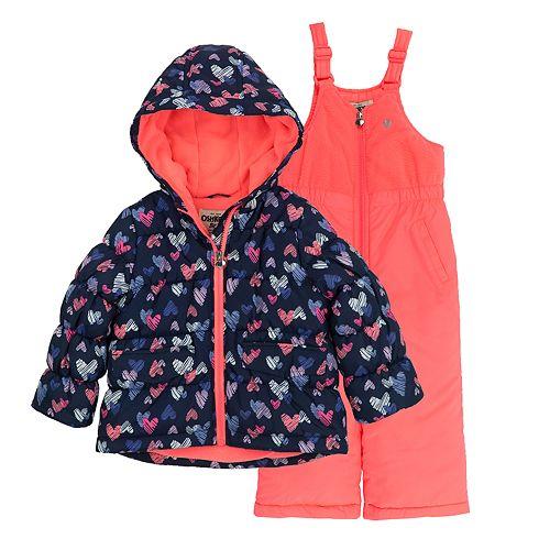 Baby Girl OshKosh B'gosh® Navy & Coral Heart Heavyweight Hooded Jacket & Bib Snow Pants Set