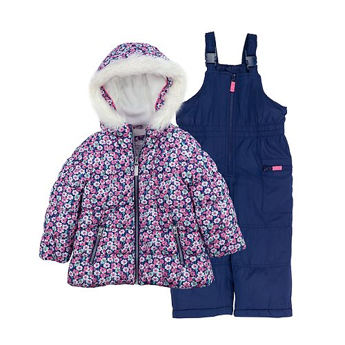 Baby Girl Carter's Disty Floral Heavyweight Hooded Jacket & Bib Snow Pants Set