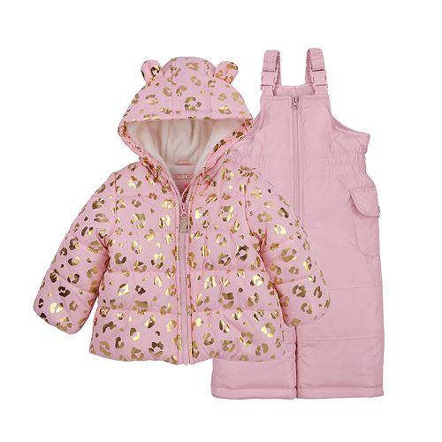 Baby Girl Carter's Leopard Heavyweight Hooded Jacket & Bib Snow Pants Set