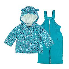 Baby Girl Carter's Printed Heavyweight Hooded Jacket & Bib Snow Pants Set