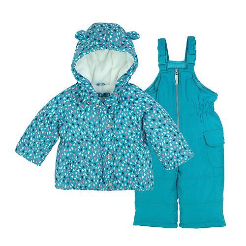 Baby Girl Carter's Printed Heavyweight Hooded Jacket & Bib Snow Pants Set