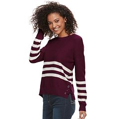 Juniors' Pink Republic Lace-Up Striped Sweater