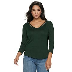 Women's Jennifer Lopez Beaded-Inset V-neck Top